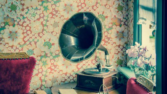brown and black gramophone